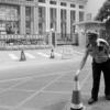 河南省实验中学考点门前竖起了本考点已消毒的警示牌